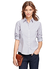Petite Non-Iron Fitted Stripe Dress Shirt