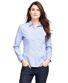 Petite Fitted Cotton Stripe Dress Shirt
