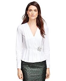Petite Cotton Stretch Pleated Peplum Shirt