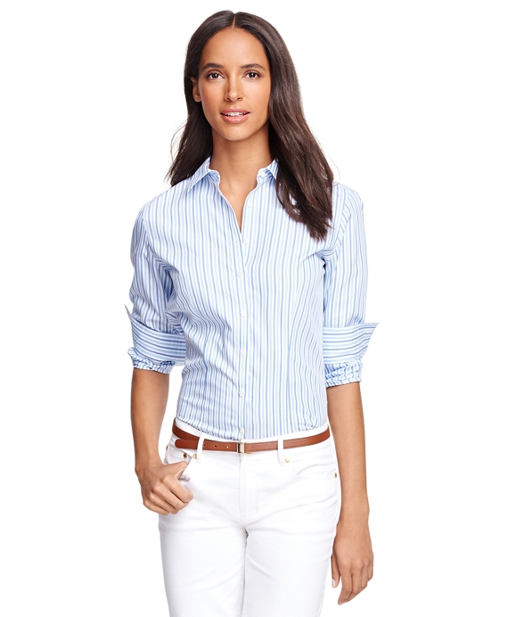 Petite Non-Iron Fitted Supima® Cotton Stripe Dress Shirt Blue