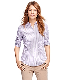 Petite Non-Iron Fitted Supima® Cotton Stripe Dress Shirt