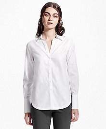 Petite Non-Iron Cotton Dobby Tunic Shirt