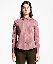 Petite Fitted Striped Non-Iron Dress Shirt