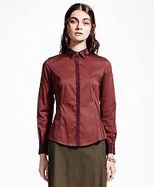 Petite Tailored Silk-Collar Shirt