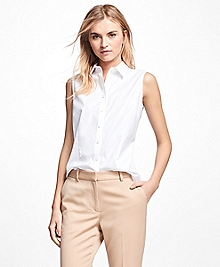 Petite Fitted Sleeveless Non-Iron Dress Shirt
