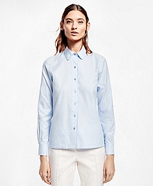 Petite Scallop-Edge Cotton Dobby Shirt