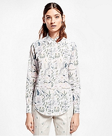 Petite Botanical-Print Cotton Poplin Shirt