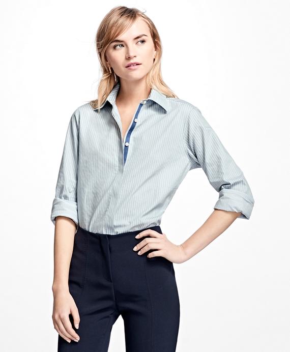 Petite Striped Cotton Dobby Shirt Blue