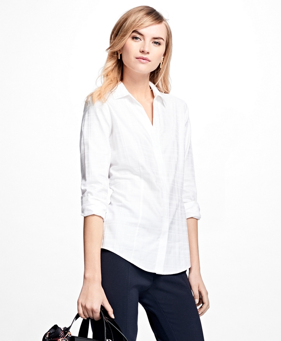 Petite Fitted Cotton Jacquard Shirt White