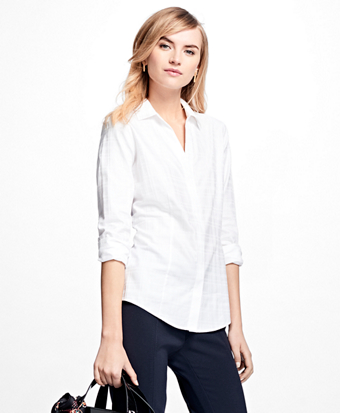 Petite Fitted Cotton Jacquard Shirt