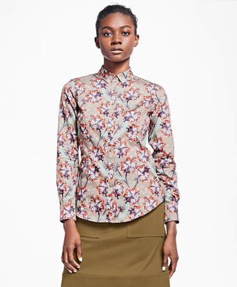 Petite Tailored-Fit Floral Cotton Sateen Blouse