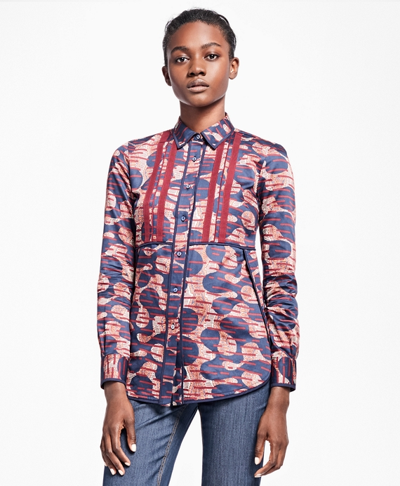 Petite Abstract Tribal Cotton Sateen Dress Shirt Multi