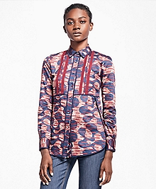 Petite Abstract Tribal Cotton Sateen Dress Shirt