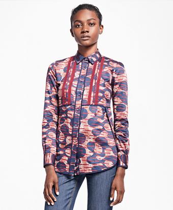 Petite Abstract Tribal Cotton Sateen Dress Shirt