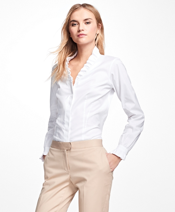 Petite Non-Iron Ruffle Pinpoint Oxford Dress Shirt White