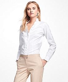 Petite Non-Iron Ruffle Pinpoint Oxford Dress Shirt