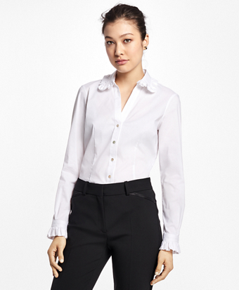 Petite Cotton-Blend Ruffle Dress Shirt