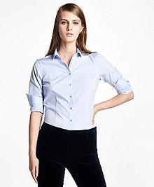 Petite Tailored-Fit Stretch-Cotton-Poplin Dress Shirt