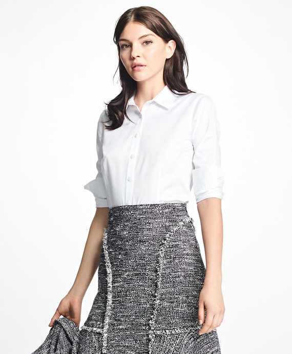 Petite Tailored-Fit Cotton-Sateen Dress Shirt