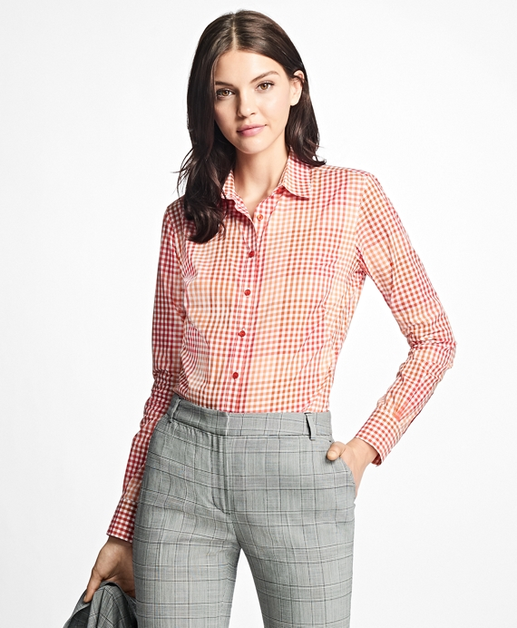 Petite Fitted Cotton Poplin Mini-Gingham Blouse Red-Multi