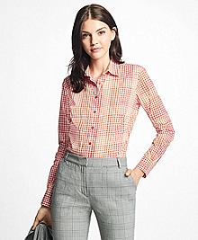 Petite Fitted Cotton Poplin Mini-Gingham Blouse