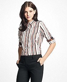 Petite Fitted Multi-Stripe Cotton Dobby Dress Shirt