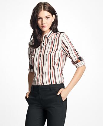 Petite Fitted Multi-Stripe Cotton Dobby Dress Shirt