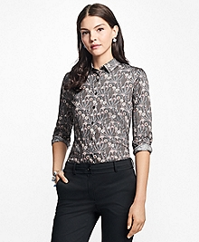 Petite Tailored-Fit Botanical-Print Cotton Sateen Blouse