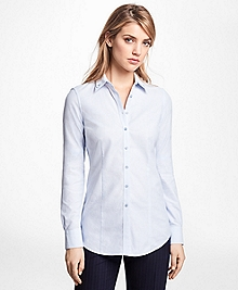 Petite Tailored-Fit Cotton Double-Collar Shirt