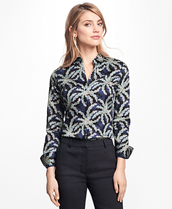 Petite Fitted Palm Tree Print Cotton Sateen Shirt