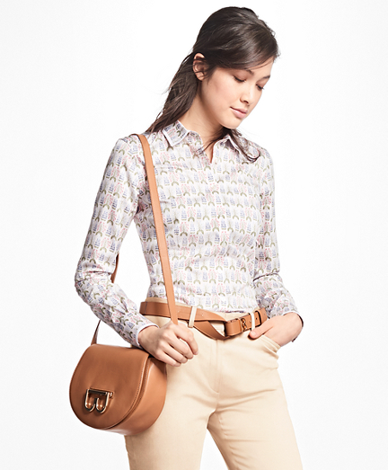 Petite Tailored-Fit Floral Cotton-Sateen Shirt