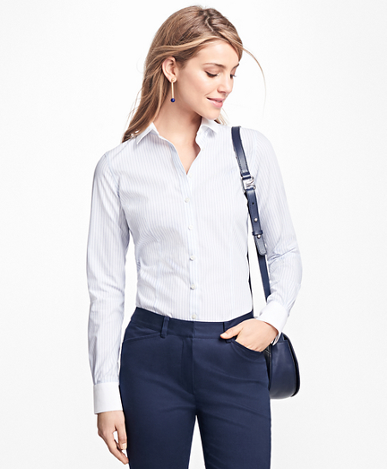 Petite Tailored-Fit Stripe Stretch-Cotton Poplin Blouse