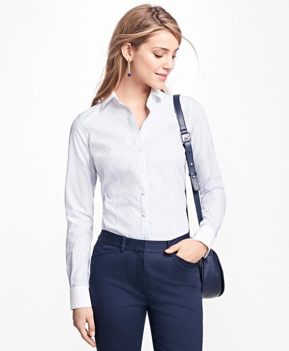 Petite Tailored-Fit Stripe Stretch-Cotton Poplin Blouse Blue