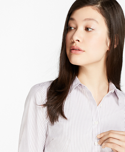 Petite Striped Dobby Cotton Tailored Shirt