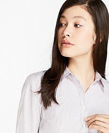 Petite Non-Iron Striped Dobby Cotton Tailored Shirt