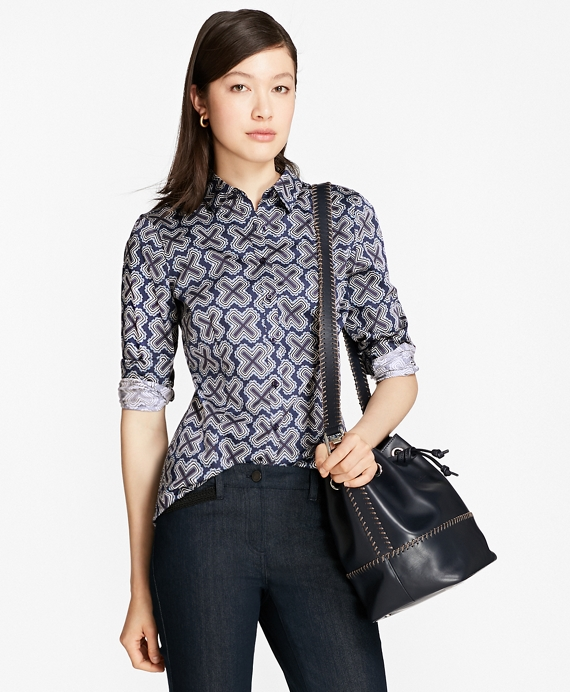 Petite Geometric-Print Tailored-Fit Shirt Blue-Multi
