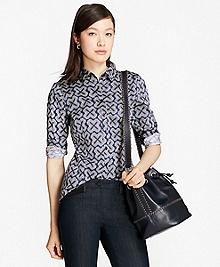 Petite Geometric-Print Tailored-Fit Shirt