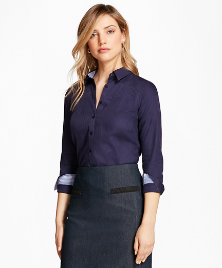 Petite Tailored-Fit Patchwork Jacquard Shirt
