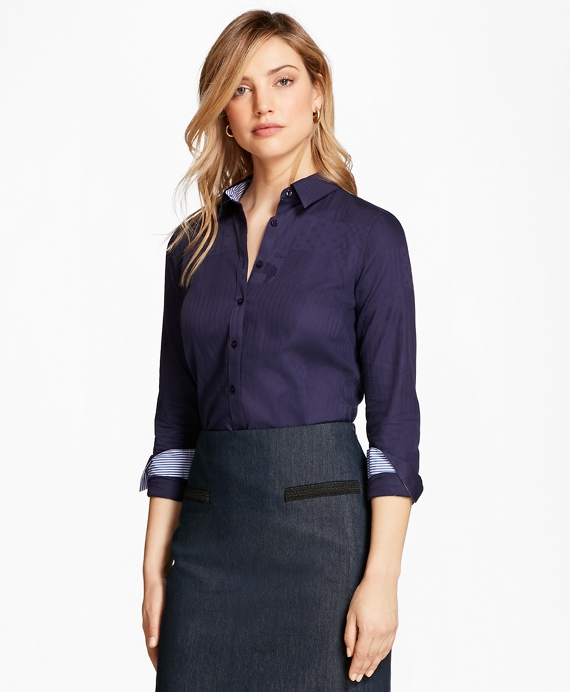 Petite Tailored-Fit Patchwork Jacquard Shirt Navy