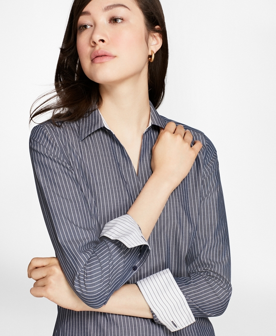 Petite Non-Iron Fitted Striped Cotton Poplin Shirt Blue-White
