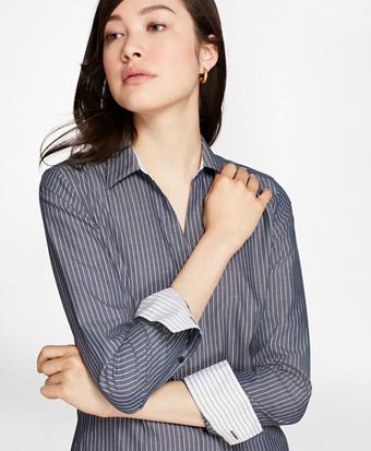 Petite Non-Iron Fitted Striped Cotton Poplin Shirt