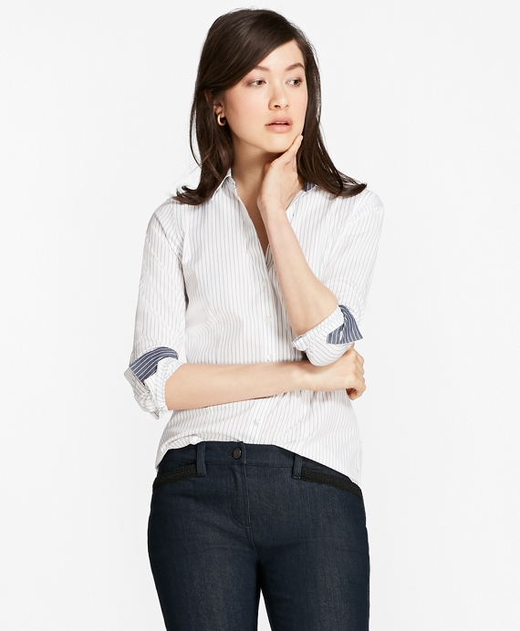Petite Non-Iron Fitted Striped Cotton Poplin Shirt White-Blue