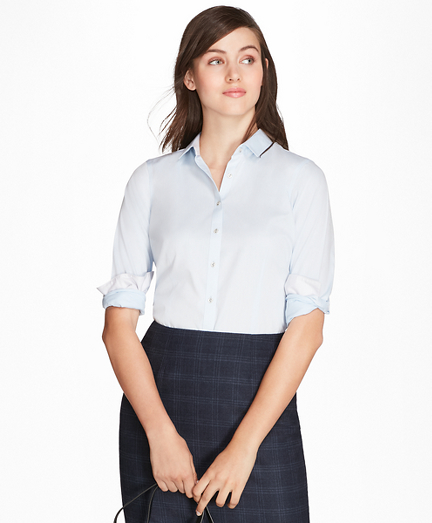 Petite Non-Iron Tailored-Fit Chevron Dobby Cotton Poplin Shirt