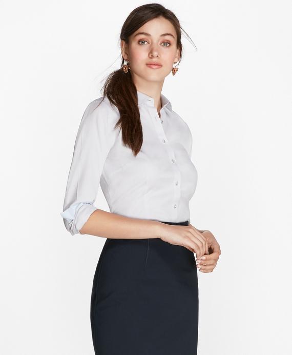 Petite Non-Iron Tailored-Fit Chevron Dobby Cotton Poplin Shirt