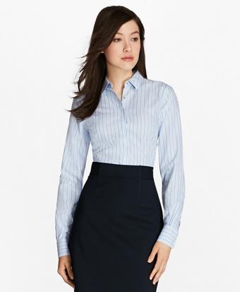Petite Non-Iron Multi-Stripe Cotton Poplin Fitted Dress Shirt
