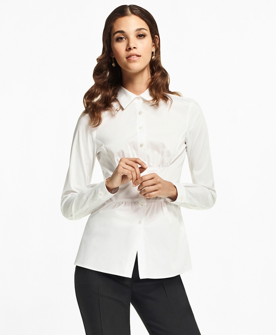 Petite Stretch Cotton Peplum Shirt White