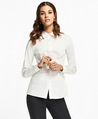 Petite Stretch Cotton Peplum Shirt