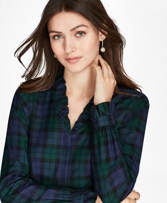 Petite Non-Iron Ruffled Black Watch Supima® Cotton Twill Shirt