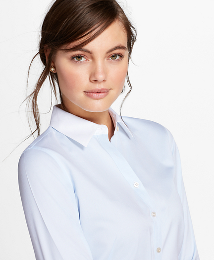 Petite Non-Iron Contrast-Collar Cotton Twill Fitted Shirt