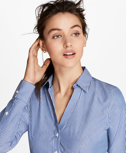 Petite Non-Iron Striped Cotton Poplin Fitted Shirt